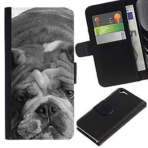 EJOY---La carpeta del tirón la caja de cuero de alta calidad de la PU Caso protector / Apple Iphone 6 / --Bulldog Inglés Gray Perro Blanco Negro
