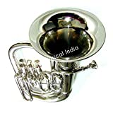 Queen Brass 3 Valve Siver Chrome Euphonium Bb Pitch Eupho Brass Musical Instrument With Free Case Box & Mouth Pc.