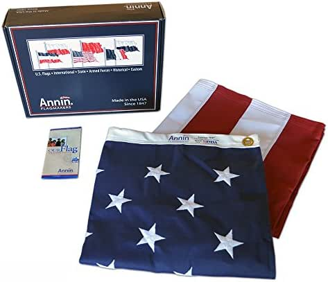 Annin Flagmakers Model 2710 American Flag 3x5 ft. Tough-Tex the Strongest, Longest Lasting Flag , 100% Made in USA with Sewn Stripes, Embroidered Stars and Brass Grommets.
