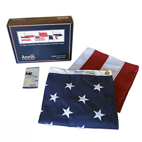 Annin Flagmakers Model 2710 American Flag 3x5 ft. Tough-Tex the Strongest, Longest Lasting Flag , 100% Made in USA with Sewn Stripes, Embroidered Stars and Brass Grommets.]()