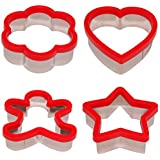 Stately Kitchen's Soft Grip Large 3 inch Cookie Cutter Set of 4 - Ginger Bread Man Cookie Cutter, Heart Cookie Cutter, Star Cookie Cutter and Flower Cookie Cutter