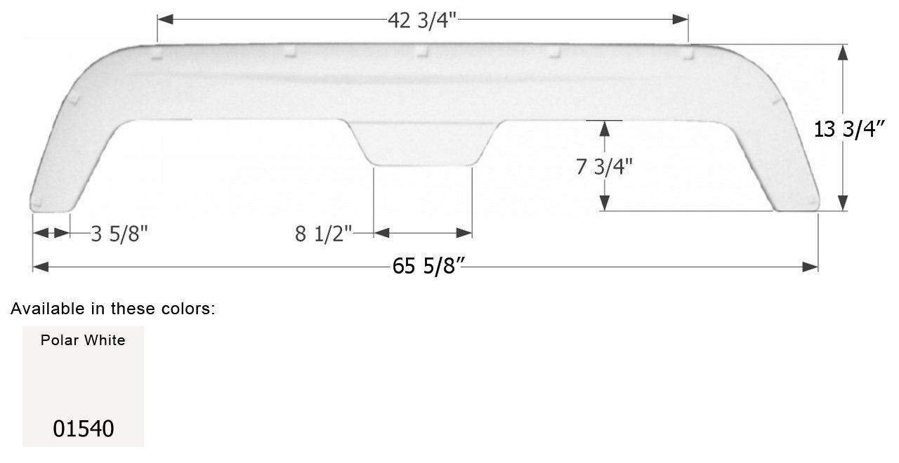 ICON 01540 Polar White 65.75'' x 13.88'' Tandem Fender Skirt