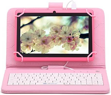 iRULU eXpro X1 7 Inch Quad Core Google Android Tablet PC, 1024x600 Resolution, Wi-Fi, Games, Dual Cameras, 8GB Nand Flash with keyboard (Pink Tablet)