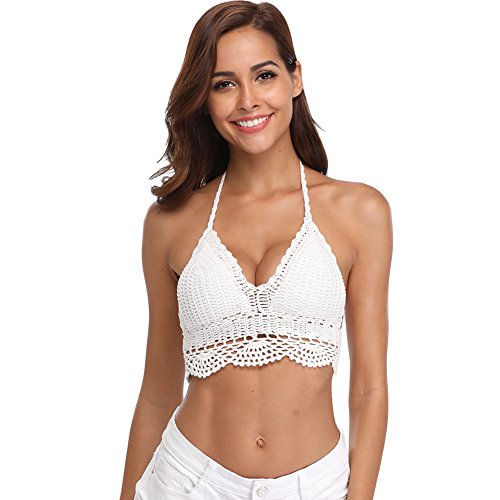 SailBee Women's Summer Crochet Crop Bikini Top -