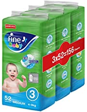 Fine Baby Fast Sorption, Size 3, Medium, 4-9 kg, Jumbo Pack, 156 Diapers