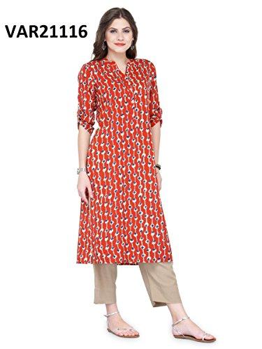 Manas Store Indian Women Designer Kurta Kurti Bollywood Tunic Ethnic Pakistani Top Crepe Kurtis Dress Tunics Cotton Tops Blouse Style Long Silk (Rust Salwar)