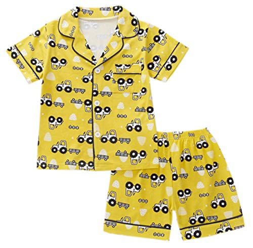 Boys' Pajamas Set, Truck Print Cotton Short Sleeve Button-Up Sleepwear Top + Shorts Pajama Set for Baby Toddlers Little & Big Boys, Truck Yellow, 6-7 Years = Tag 140