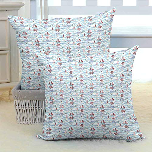 DuckBaby Lighthouse Personalized Pillowcase Wavy Stripes Ocean Ship Steering Wheel Message in a Bottle Seagulls Soft and Comfortable W24 x L24 inch x 2 Pale Blue Purple Red (Message In A Bottle Cover Machine Head)