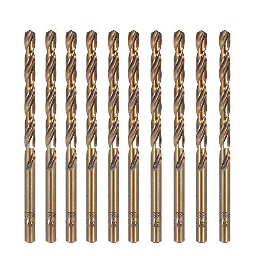 Migiwata 3/16 Inch Fractional Size M35 Cobalt Steel Extremely Heat Resistant Jobber Length Twist Drill Bit Set of 10pcs with Straight Shank for Repeated Drilling Projects in Stainless Steel and Iron - Jobber Length Drill Bit