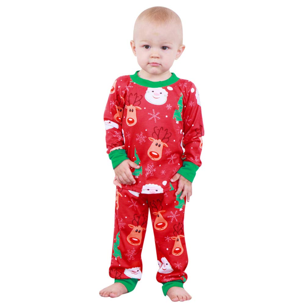 Robemon Child Clothes,Children Kids Costume Toddler Baby Boy Girls Christmas Long Sleeve Santa Print Tops+Pants Outfit