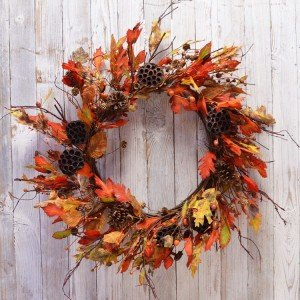 "WHD Fall Wreath for Front Door Thanksgiving Autumn Harvest, Multicolored (Green, Orange, Brown, Yellow) - 32"" Diameter 58"