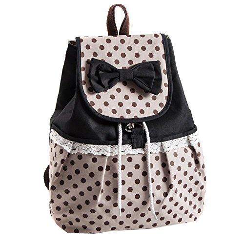 EUBUY Cute Polka Dot Bow Lace Casual Canvas Backpack Rucksack Daypack Shcool Bag College Bag for Teenage Girls Black