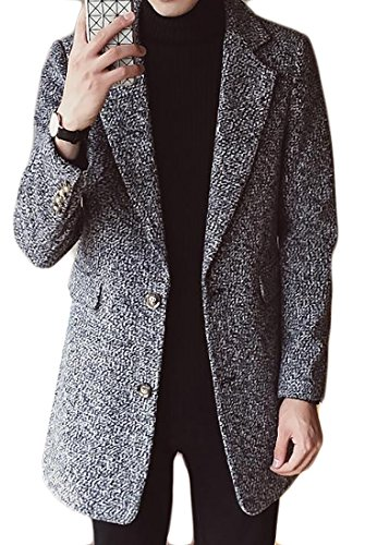 Fulok Mens Lapel Tweed Overcoat Single Breasted Wool Pea Coat Outwear Light Grey L (Tweed Overcoat)
