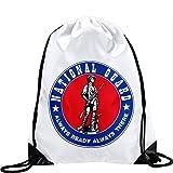 Large Drawstring Bag with US National Guard - Long lasting vibrant image