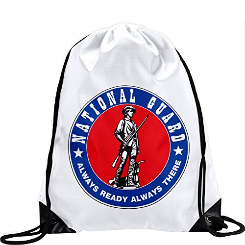 Large Drawstring Bag with US National Guard - Long lasting vibrant image by ExpressItBest