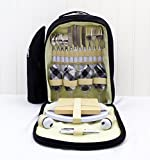 Luxury 4 Person Black & Cream Picnic Backpack