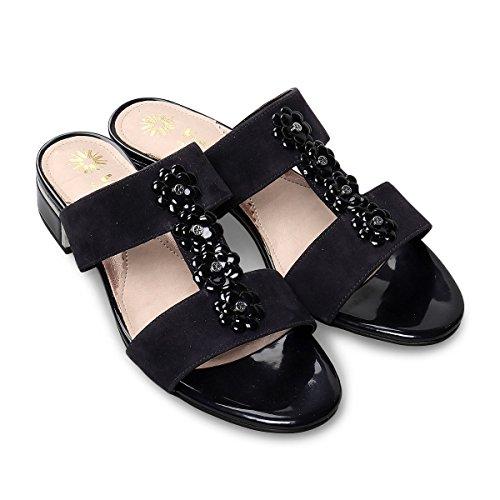 Van Dal Women's Ione Sling Back Sandals Blue (Midnight Suede/Prisd Patent) FPrVGJPT