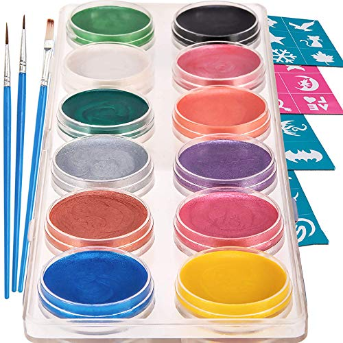 Blue Squid Face Paint Kit | Professional Best Quality Painting for Kids & All Ages | Water Based Set Non-Toxic FDA Approved | +Online Guide (12 Color Metallic) -