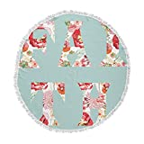 KESS InHouse Suzanne Carter Faith Blue Red Round Beach Towel Blanket