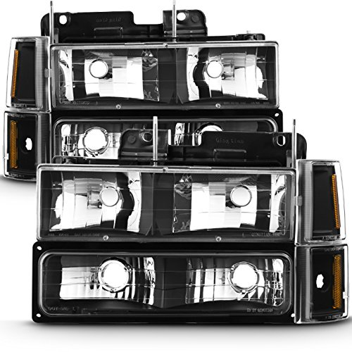 For 94-99 GMC Full Size Pickup Truck Suburban Sierra Black Bezel Headlights w/Corner + Bumper Signal Lamps