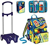 Expandable Backpack + Filled Pencil Case + Trolley Cart - SEVEN SJ - Blue - 3 Flaps and 10 cards included