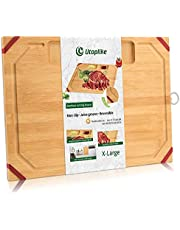 Utoplike Unique Bamboo Cutting Board,Organic Chopping Board with Non-Slip Rubber Strips, with 2 Specially Designed Compartments for Chopped Garlic Onion Meat