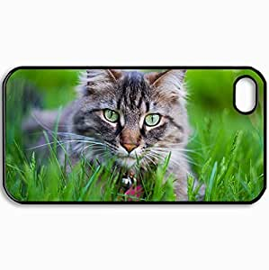 Customized Cellphone Case Back Cover For iPhone 4 4S, Protective Hardshell Case Personalized Cats Cat S Tiger 12411 Black