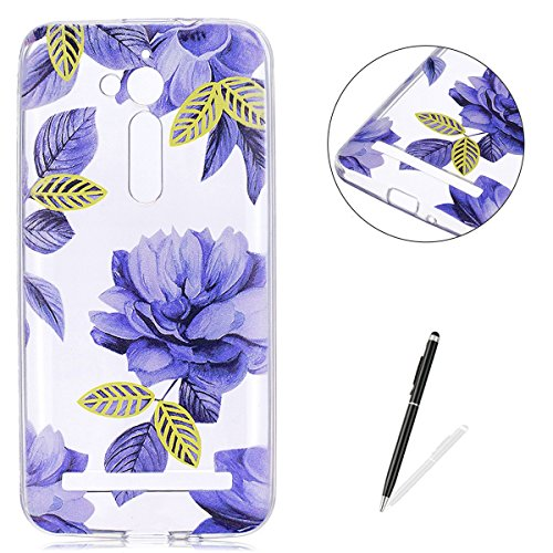KaseHom ASUS ZenFone Go ZB500KL TPU Case Clear Crystal with [Free Touch Stylus Pen] Funny Anime Design Ultra Slim Soft Rubber Shock-Absorption Bumper Cover Shell - Blue Flowers ()