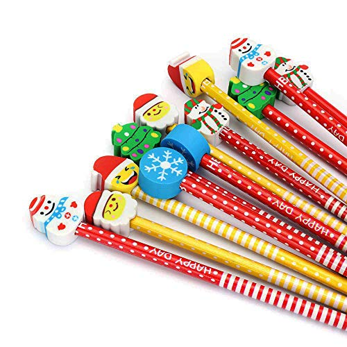 (Cartoon Pencil With Eraser Colorful Novelty Christmas present Assorted Colorful Kids Pencils 12 Pack By BUSHIBU)