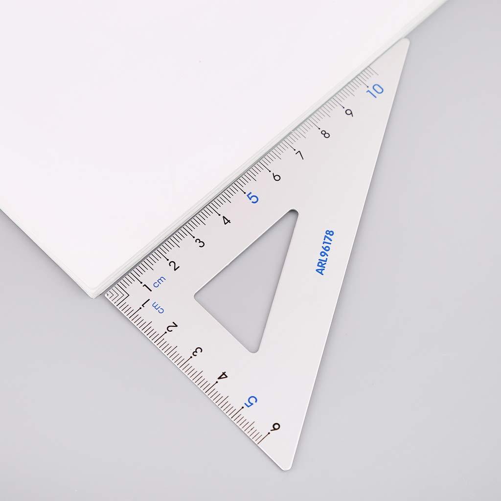 Ruda 4pcs piazza triangolo righello goniometro in lega di alluminio leggero disegno materiale scolastico set matematica geometria set di attrezzi per gli studenti insegnante colore casuale