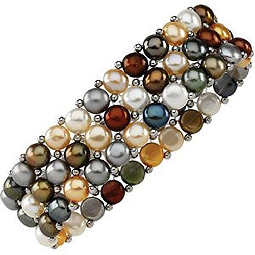 Bracelet Color Pearl Multi Cultured - Earthtone Multi-Color Freshwater Cultured Pearl 3-Strand Stretch Bracelet, 6
