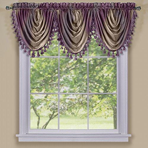 Achim Home Furnishings Ombre Waterfall Valance, Aubergine (Purple Valance Curtains)