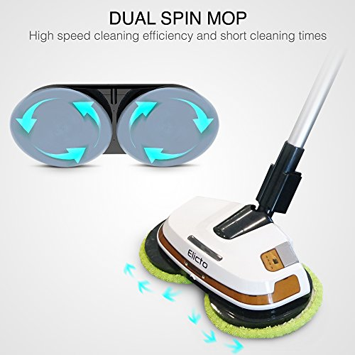 Elicto ES-500N Corded Electronic Spin Mop and Polisher, 2019 Updated Model Dual Spin Technology, Water Spray Feature with 2 Sets of Resuable Microfiber Mop Heads for Indoor and Outdoor Use