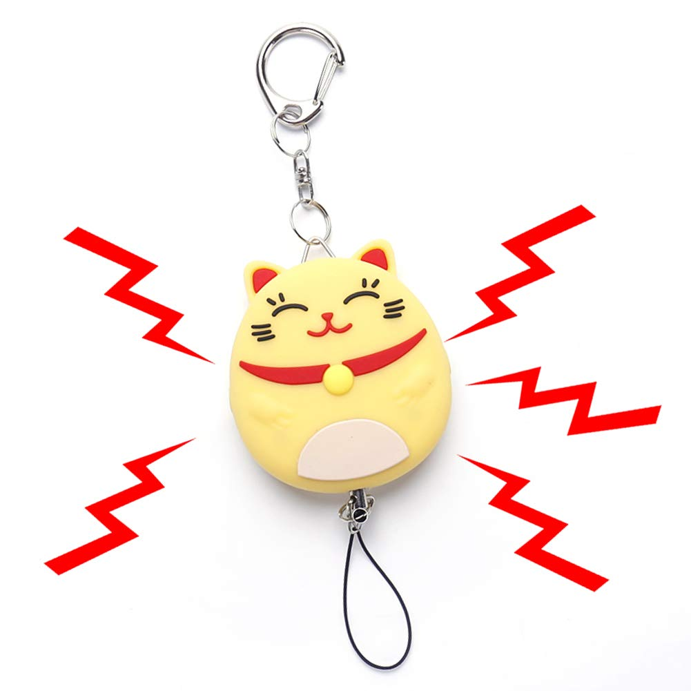 Bear Gentleman Personal Alarm, 130db Emergency Safe Sound Self Defense Cute Keychain Security Panic Button for Women Kids Students Elderly(Lucky Cat,Yellow)