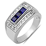 Men's 1/4CT Diamond with Created Sapphire Ring in 10k White Gold with a Cage Back, Ring Size 10.5