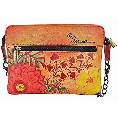 Design on by Free Anna Clutch Hand Leather Purse Summer Real Bloom Holder Painted Handbag Shoulder Anuschka f0dwdvqY