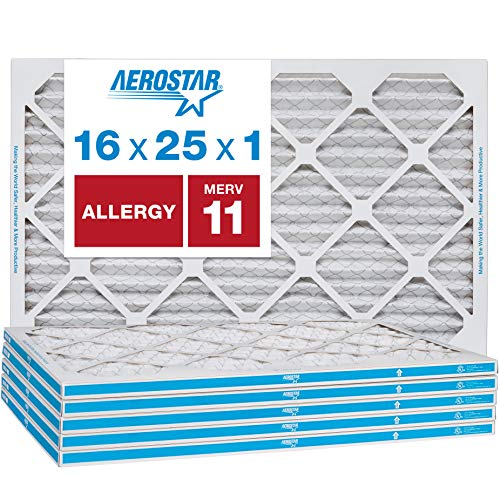 Aerostar 16x25x1 MERV 11 Pleated Air Filter, Made in the USA, 6-Pack best to buy