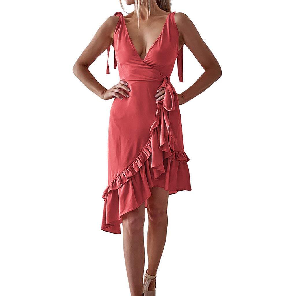 BaZhaHei Women's Sleeveless V-Neck Ruffled Irregular Dress Summer Boho Long Maxi Dress Beach Sun Dress Evening Party Cocktail Casual Dresses Red