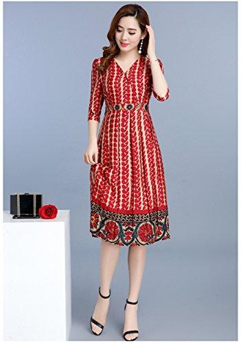Women`s Cotylédons Robes Imprimées Col V 3/4 Robe De Mousseline Manches D'orange
