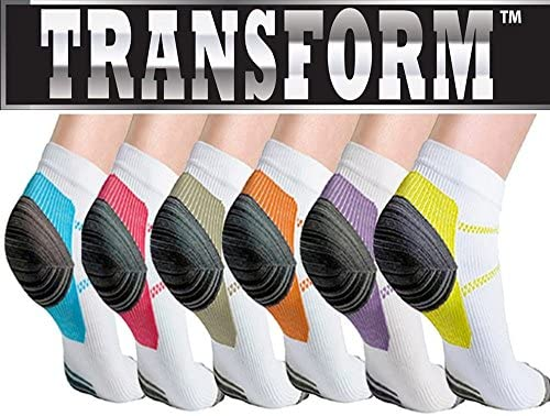 7d56bc972f Amazon.com: Multi Color Unisex Ankle-Length Compression Socks (6 Pack)  DEAL!: Sports & Outdoors