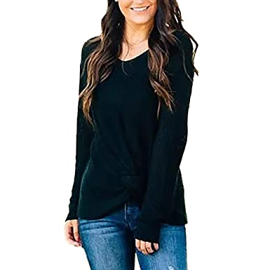 26e3e7c8cee Susenstone Femmes Pulls Pas Cher A La Mode Pullover Col Round Couleur Unie  Tricoté Sweater Chandail
