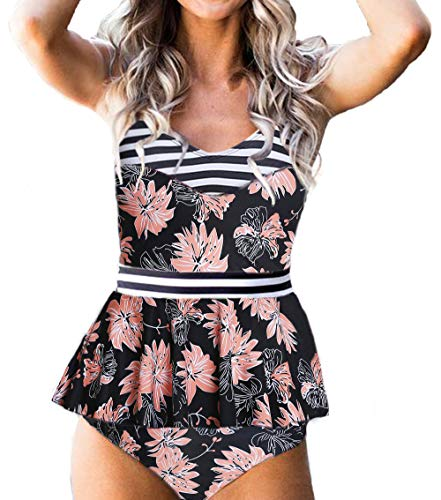 (IMIDO Womens V Neck Retro Two Piece Swimsuit Floral Printed Stripe Bathing Suit Hollow Out Swimwear Tankini (L(US 8-10), Floral Black) )