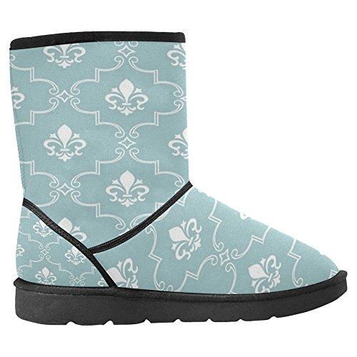Interestprint Botas De Nieve Para Mujer Unique Designed Comfort Botas De Invierno Damasco Patrones Tallados Sky Blue Multi 1