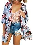 Womens Floral Chiffon Casual Cardigan - Bikini Half Sleeve Kimono Shawl Sun Protection Blouses Beach Wear (XL, Blue)