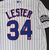 CHICAGO CUBS JON LESTER AUTOGRAPHED WHITE MAJESTIC COOL BASE JERSEY 2016 WORLD SERIES PATCH SIZE L PSA/DNA STOCK #135370