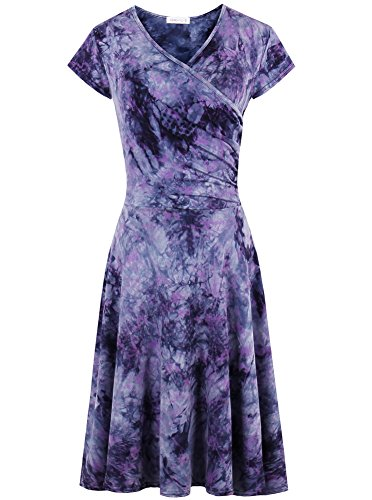 Women's Casual Tie Dye A-line Cap Sleeve Summer V Neck Wrap Flared Midi Dress Purple (Tie Dye A-line)