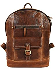 "15.5"" Vintage Leather Multi-Functional Backpack 