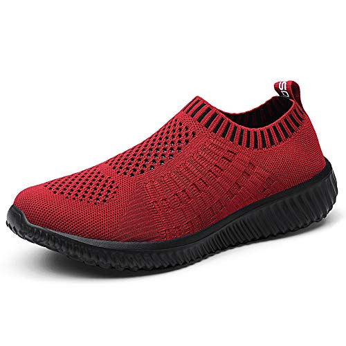 TIOSEBON Women's Athletic Shoes Casual Mesh Walking Sneakers - Breathable Running Shoes 7.5 US Ponceau