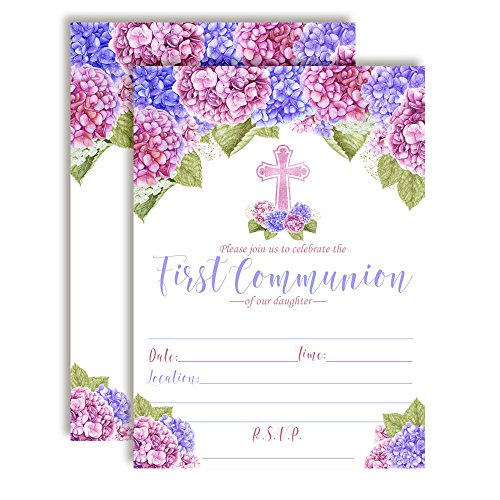 Watercolor Hydrangea Floral First Holy Communion Religious Party Invitations for Girls, 20 5