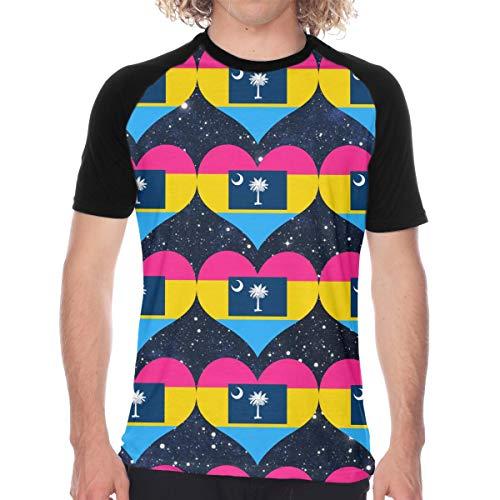 Men's Pansexual Heart South Carolina Flag Baseball Jersey Short Sleeve Raglan Tee Shirts Black]()
